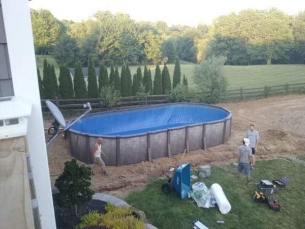 Oval swimming pool completely constructed.